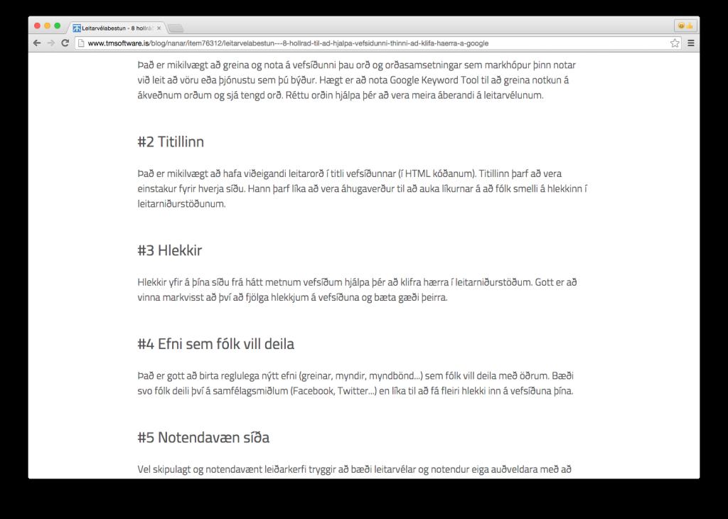 Article: Leitarvélabestun - 8 hollráð til að hjálpa vefsíðunni þinni að klífa hærra á Google - Part 2