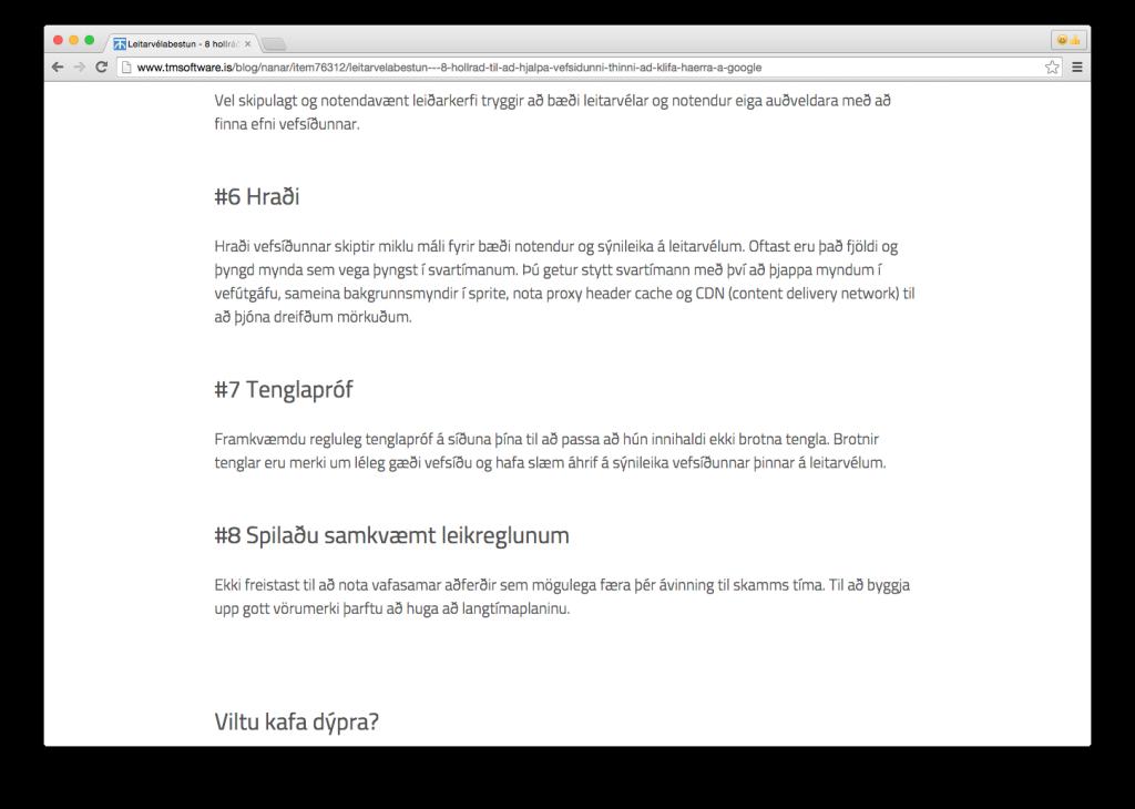 Article: Leitarvélabestun - 8 hollráð til að hjálpa vefsíðunni þinni að klífa hærra á Google - Part 3